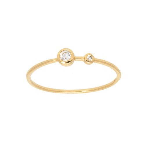 14KT Two Stone Bezel Set Ring