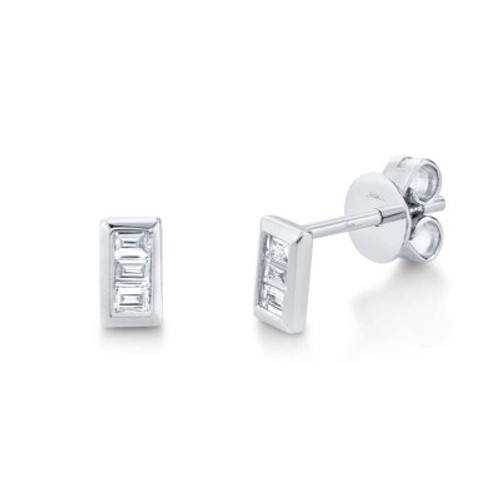 14KT Diamond Baguette Stud Earrings