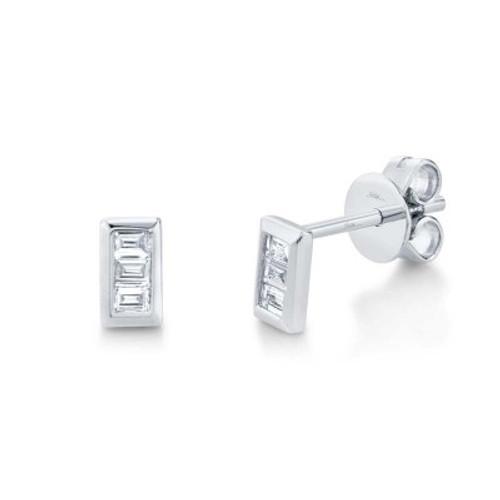 14KT Diamond Baguette Stud Earrings