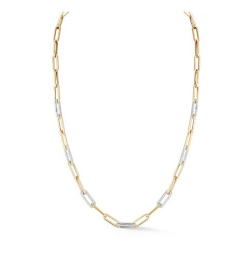 14KT Paper Clip Chain with Seven Diamond Links Necklace