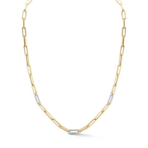 14KT Paper Clip Chain with Three Diamond Links Necklace