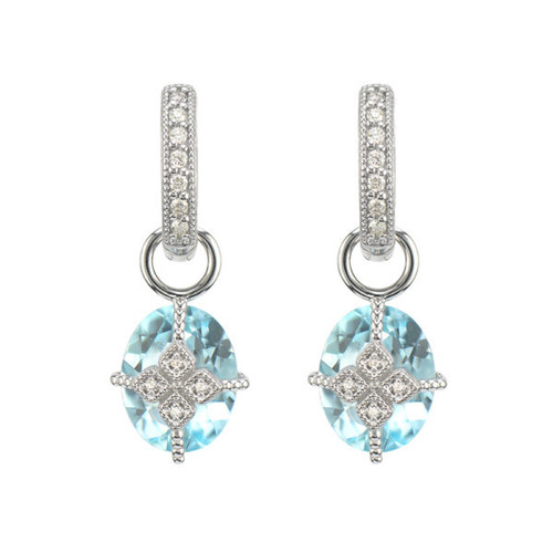 Lisse Maltese Kite Blue Topaz and Diamond Earring Charm