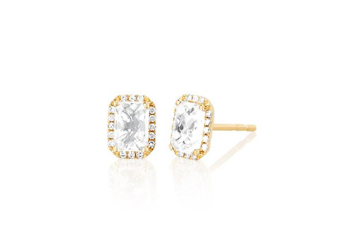 14KT Diamond & White Topaz Emerald Cut Stud Earring