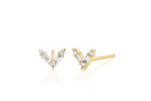 14KT Diamond Baguette Chevron Stud Earring