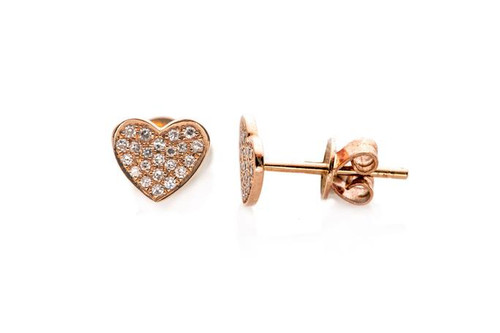 14KT Diamond Heart Stud Earrings