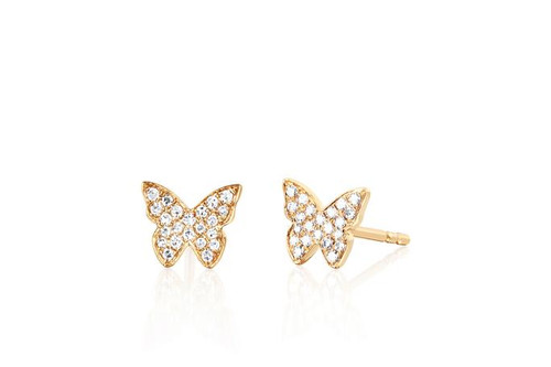 14KT Diamond Butterfly Stud Earring