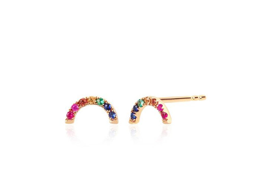 14KT Diamond Rainbow Stud Earring