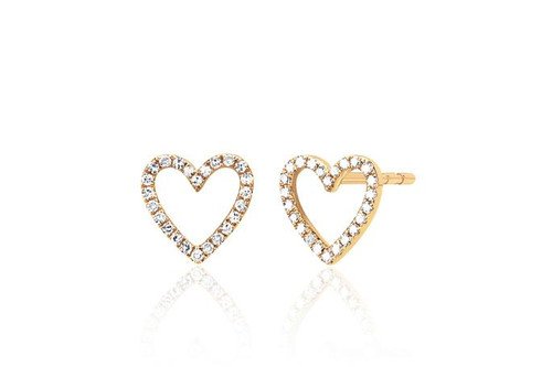 14KT Diamond Open Heart Stud Earring