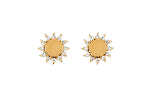 14KT You Are My Sunshine Diamond Stud Earrings