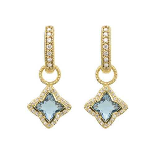 Moroccan Flower Blue Topaz and Pave Diamond Halo Earring Charm