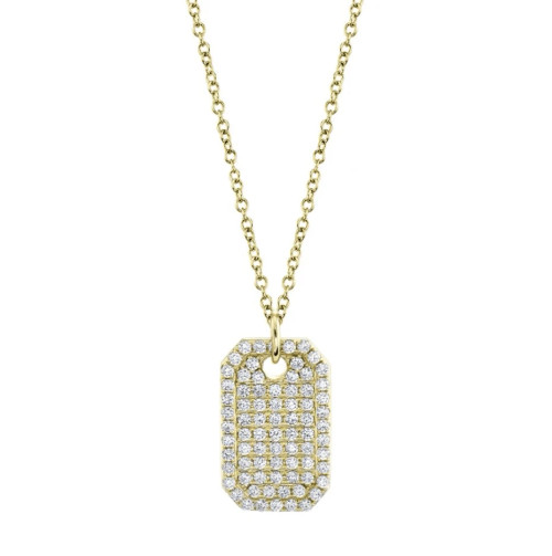 14KT Diamond Dog Tag Pendant Necklace