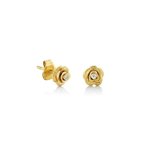 14KT Small Diamond Rose Stud Earring