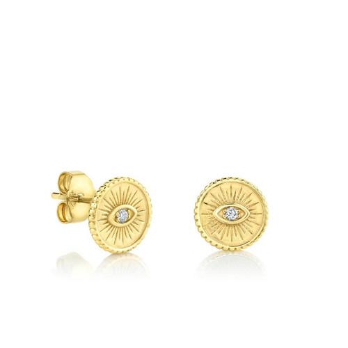 14KT Small Eye Coin Stud Earring