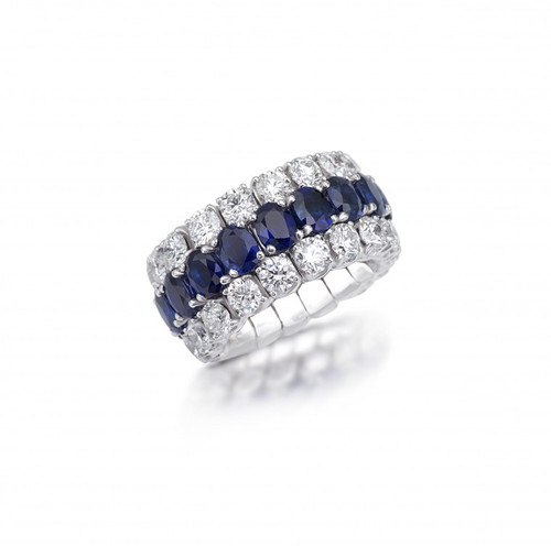 18KT Xpandable Diamond and Sapphire Ring