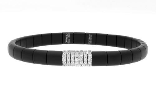 Pura Matte Ceramic Seven Station Diamond Stretch Bracelet