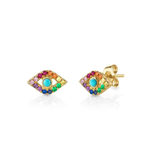 14KT Evil Eye Rainbow Stud Earring