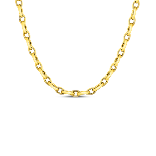 18KT High Polish Almond Link Chain