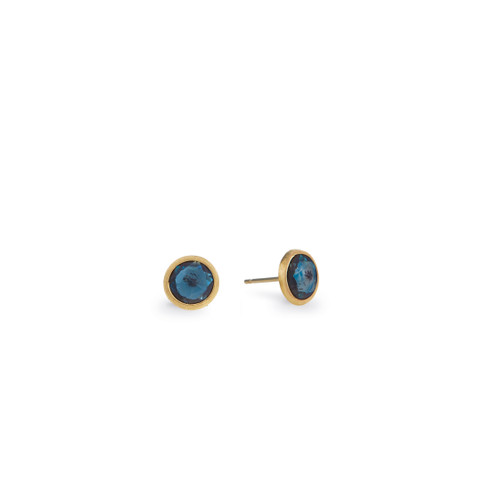 18KT Jaipur Blue Topaz Stud Earrings