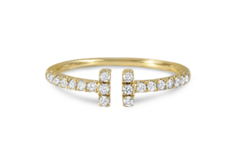 14KT Open Bar Diamond Ring