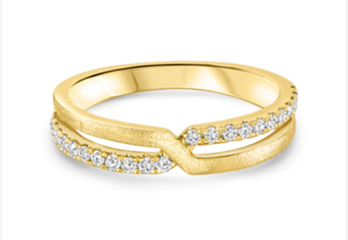 14KT Diamond and Gold Criss Cross Ring