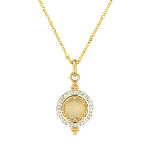 Small Provence Diamond Pave Halo Spinning Tablet Necklace