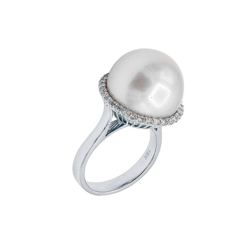 18KT South Sea Pearl and Diamond Ring