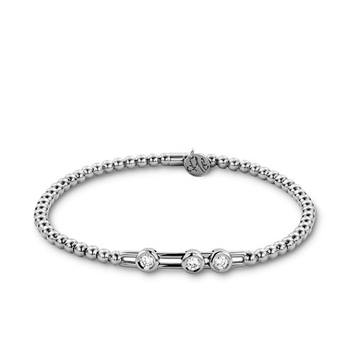 18KT Small Diamond Bezel Set Slide Bracelet