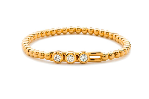 18KT Large Diamond Bezel Set Slide Bracelet