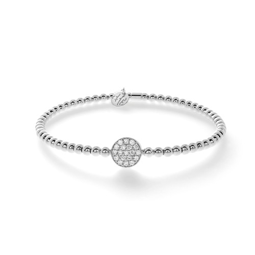 18KT Small Pave Set Diamond Disc Bracelet