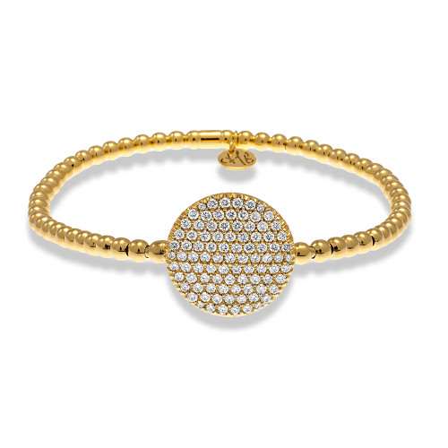18KT Large Pave Set Diamond Disc Bracelet