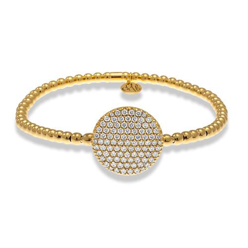 18KT Large Pave Set Diamond Disc Bracelet