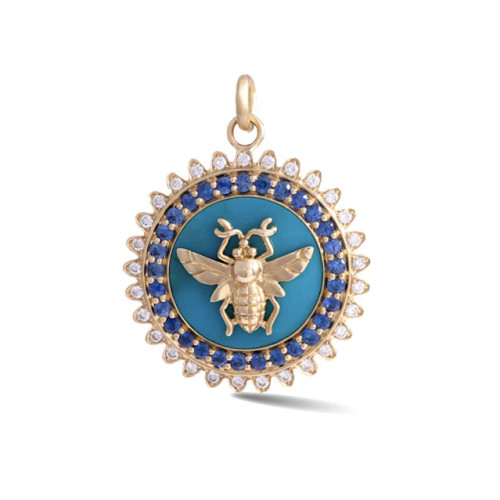 14KT Turquoise Gemstone Minnie Medallion
