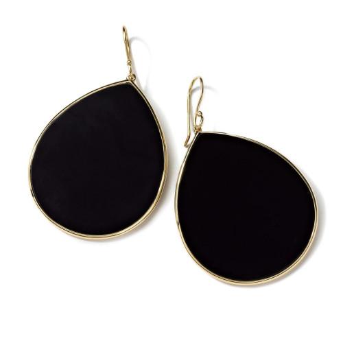 18KT Large Teardrop Onyx Earrings