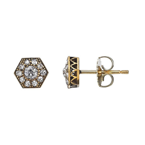 18KT Mini Hexagon Cobblestone Stud Earrings