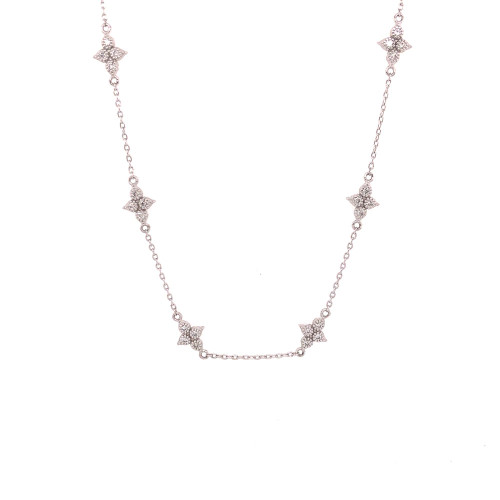 Moroccan Quad Diamond Station Necklace