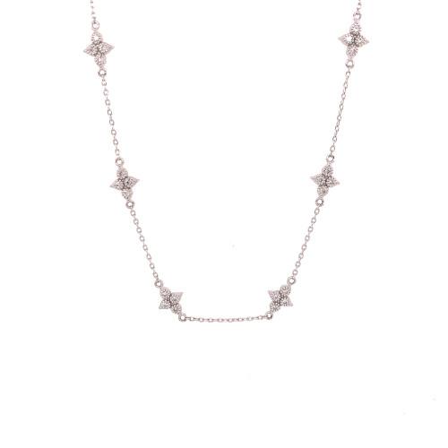 Moroccan Quad Diamond Station Necklace
