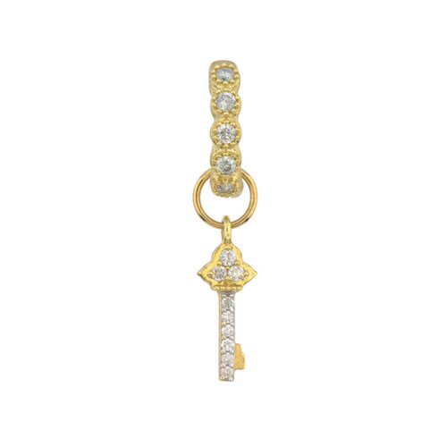 18KT Petite Diamond Pave Key Earring Charm