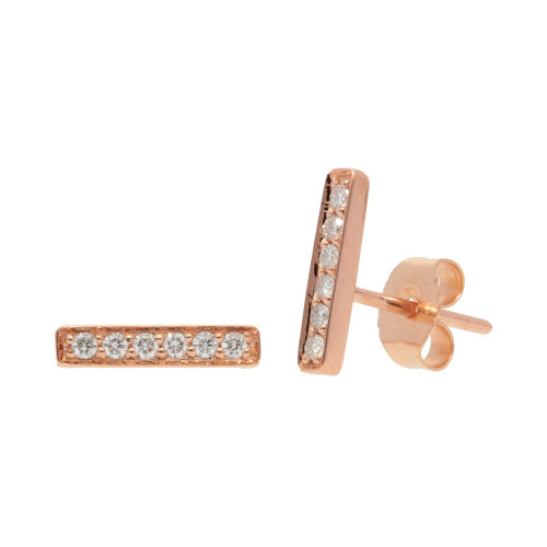 Rose Gold Bar Stud Diamond Earrings