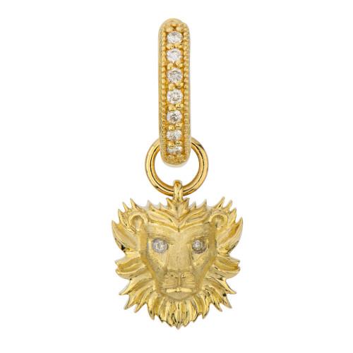 18KT Petite Lion Head Earring Charm