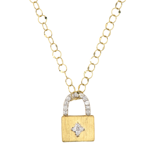 18KT Small Provence Engravable Lock Pendant