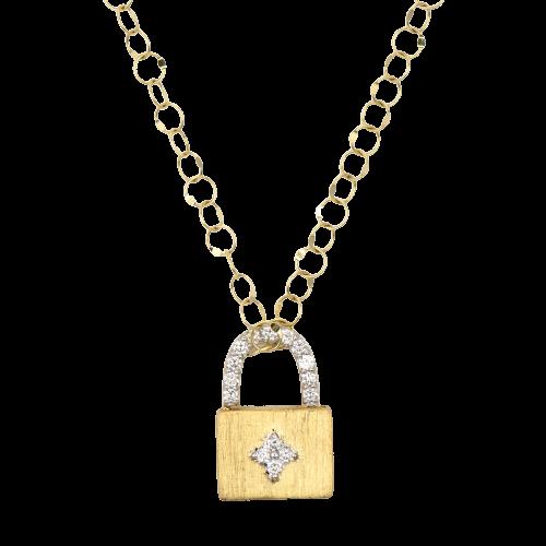 18KT Small Provence Engravable Lock Pendant