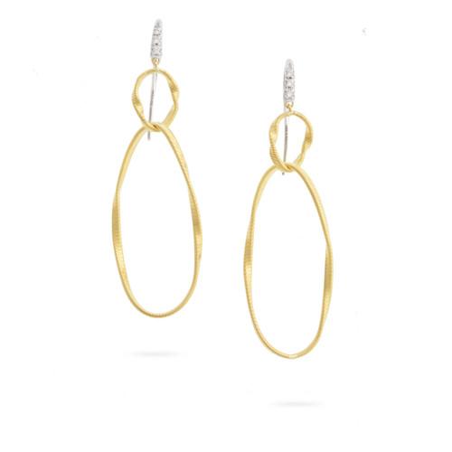 18KT Diamond Double Drop Hook Earring