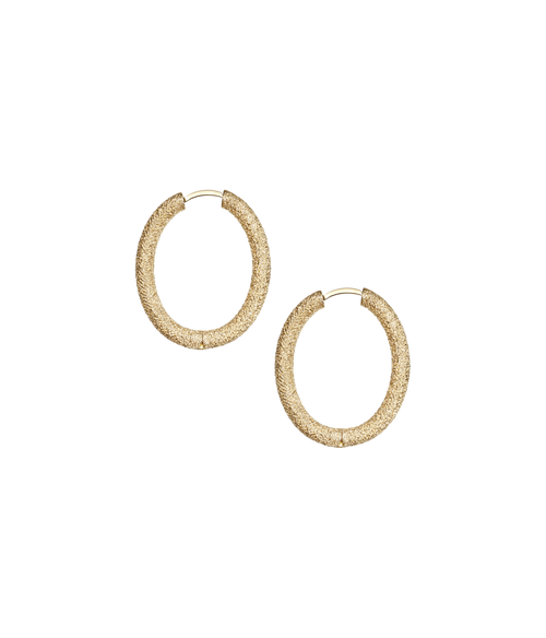 18KT Small Florentine Finish Oval Hoop Earrings