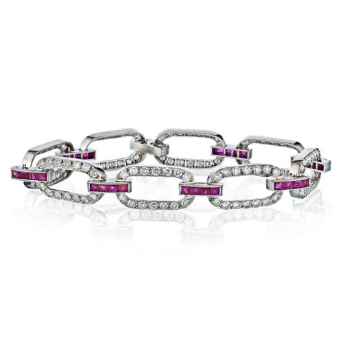 Diamond and Ruby Link Bracelet