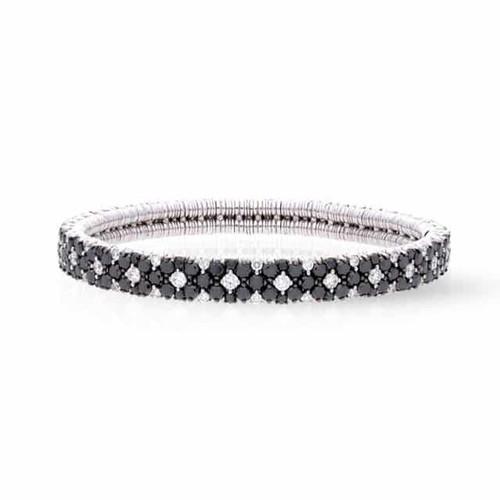 18KT Black and White Diamond Stretch Bracelet