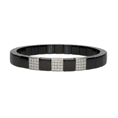18KT Scacco Black Ceramic Diamond Pave Bracelet