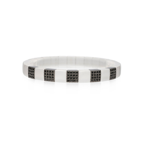 18KT Scacco White Ceramic and Diamond Bracelet