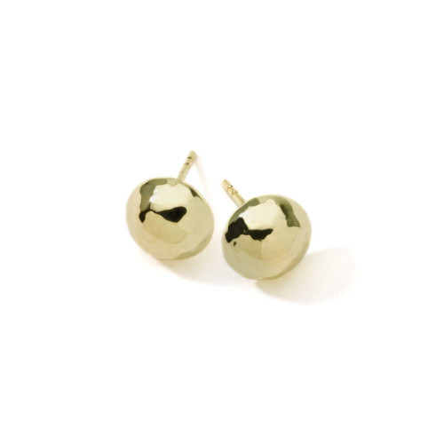 18KT Classico Small Hammered Pinball Stud Earrings
