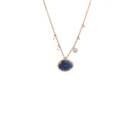 Checkerboard Blue Sapphire Dangle Necklace