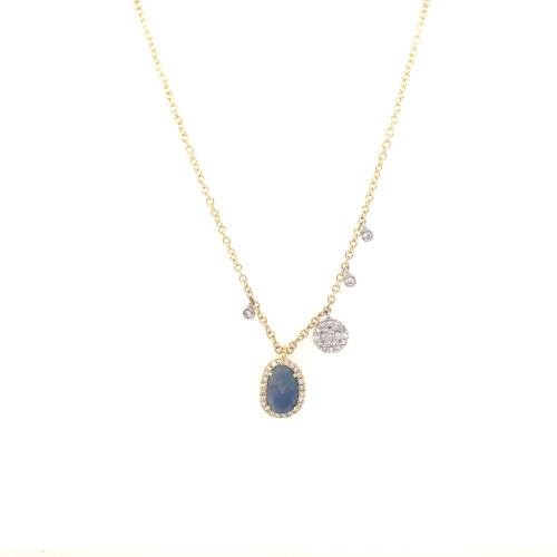 Blue Sapphire and Diamond Dangle Necklace